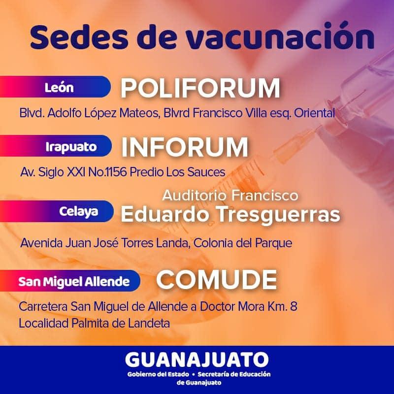 Regreso a las aulas: Sedes de vacunación docentes Guanajuato