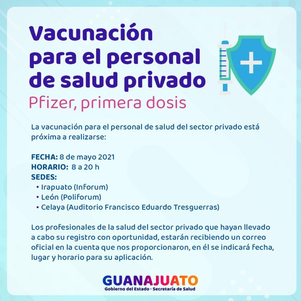 Vacuna covid a personal de salud privado Guanajuato