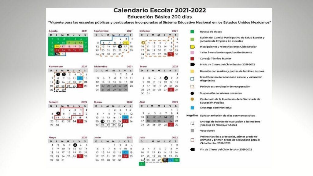 CALENDARIO ESCOLAR SEP 21 22