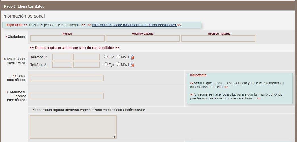 Citas INE. Credencial de elector