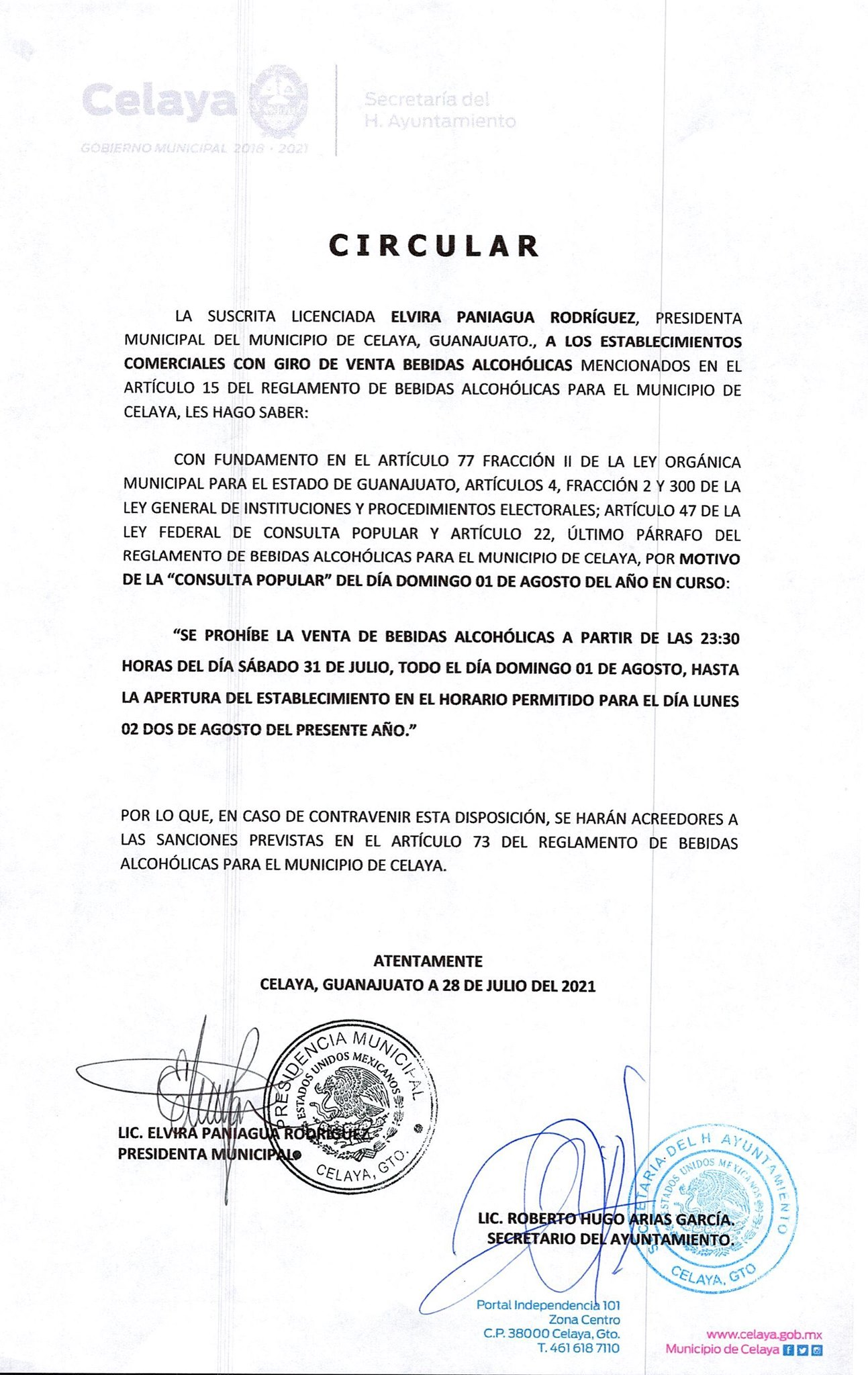 Ley Seca Irapuato Consulta Popular 2021 Foto gobierno municipal