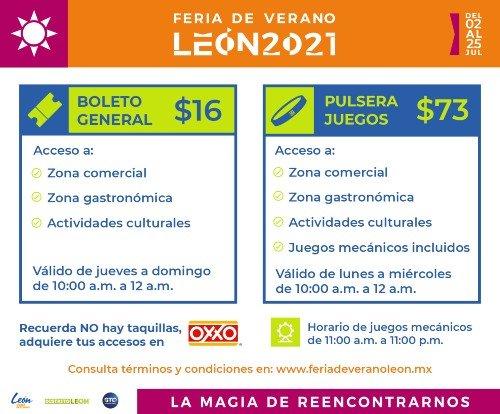 costo boletos feria leon 2021