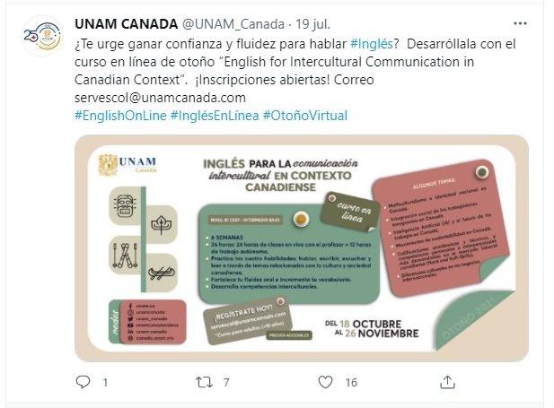 Curso de inglés UNAM Canadá