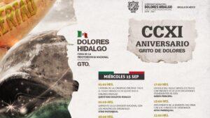 Programación oficial Grito de Independencia Dolores Hidalgo 2021 | 15 de septiembre Foto: Especial