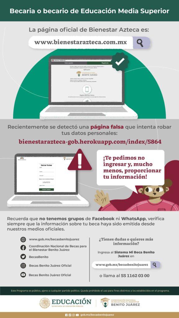 becas benito juarez bienestar azteca sitio web fraude