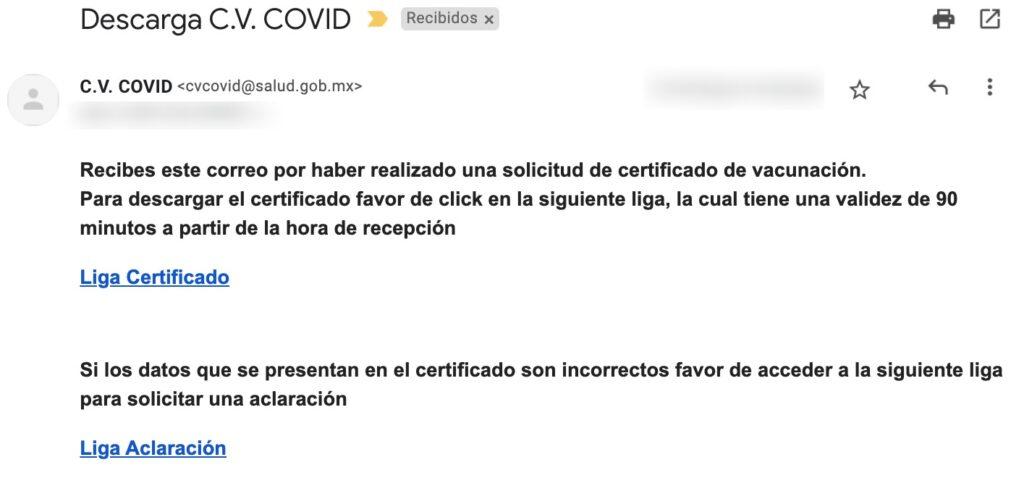 certificado vacunacion covid 19 correo