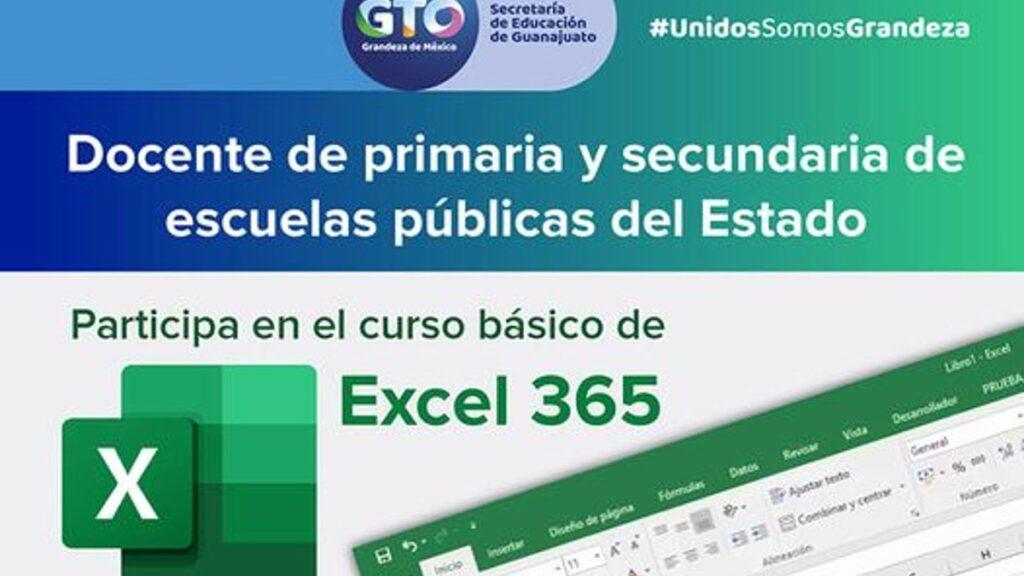 Curso básico Excel 365 para maestros Guanajuato 2021. Registro y horario Foto: Especial